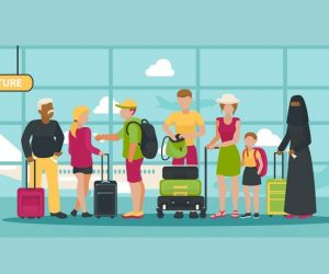 Airport vector traveling people waiting flight with luggage in departure terminal illustration backdrop passenger character on vacation background man woman and kid with baggage.